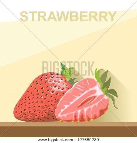 A whole big ripe strawberry with green leaves and a half strawberry on a table digital vector image.