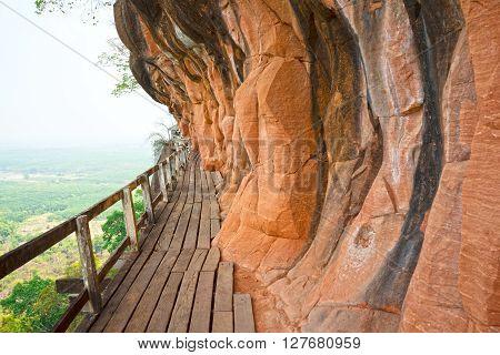 Wat Phu Tok Thailand scary walkway around the mountain