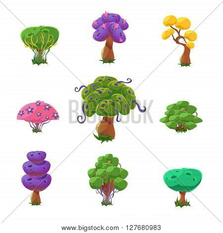 Fantastic Trees Set Of Cute Girly Style Cartoon Vector Flat Drawings Isolated On White Background