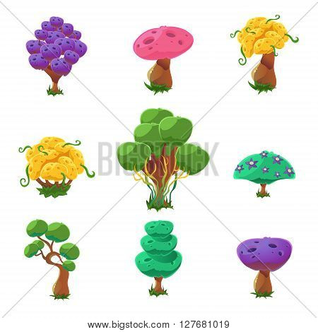 Fantastic Trees Collection Of Cute Girly Style Cartoon Vector Flat Drawings Isolated On White Background