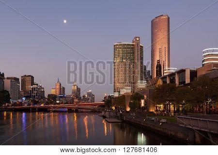 Melbourne Cbd Nightscape With Crown Casino Hotel