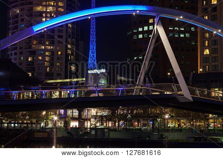 Southbank Footbridge And Melbourne Arts Centre Tower Closeup