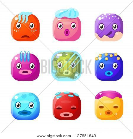Square Fantastic Creature Face Emoticon Set Of Flat Brightly Coloured Vector Design Cute Icons Isolated On White Background