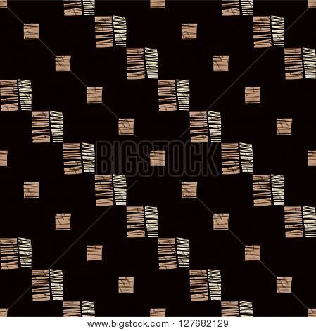 Hand drawn grunge seamless pattern. Abstract seamless pattern. Ethnic pattern. Textile vector. Diagonal lines, checkered pattern