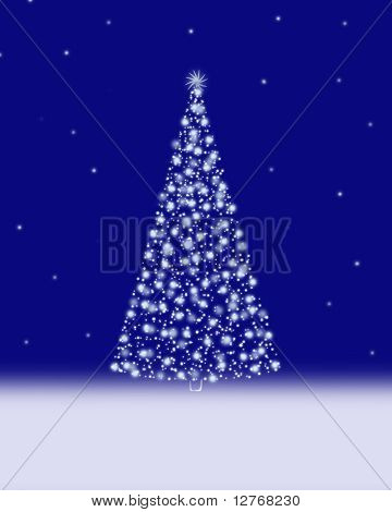 A Christmas Tree Illustration. You can write texts below.