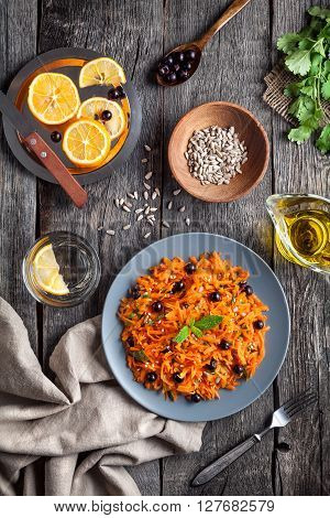 Healthy Raw Vegan Carrot Salad In Rustic Style