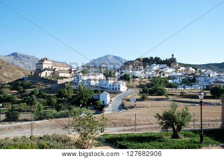ANTEQUERA, SPAIN - JULY 1, 2008 - View of the town with the castle and Santa Maria church on the hill Antequera Malaga Province Andalucia Spain Western Europe, July 1, 2008.
