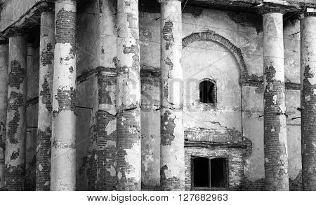 ancient ruins, old abandoned building, black and white photo