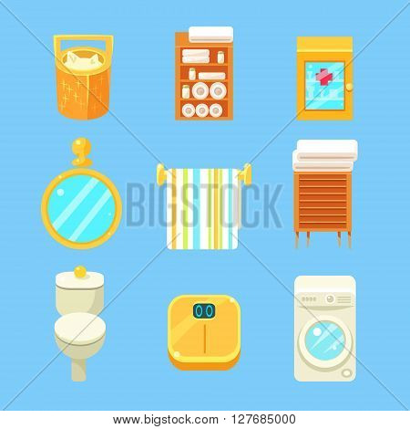 Bathroom Objects Set Of Flat Isolated Vector Simplified Bright Color Design Icons On Blue Background