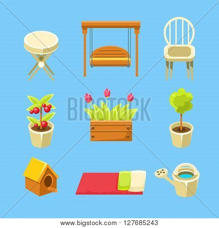 Garden Objects Set Of Flat Isolated Vector Simplified Bright Color Design Icons On Blue Background