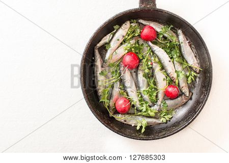 Smelt fishes in old pan on white background with blank space