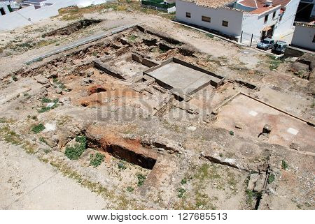 ANTEQUERA, SPAIN - JUNE 27, 2008 - View of the Roman excavation site ruins uncovered next to Santa Maria Plaza Antequera Malaga Province Andalucia Spain Western Europe, June 27, 2008.