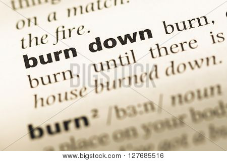 Close Up Of Old English Dictionary Page With Word Burn Down.