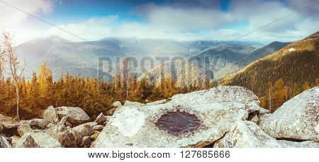 Great view of the magic valley under cloudy blue sky. Dramatic scene and picturesque picture. Location place Carpathian, Ukraine, Europe. Beauty world. Retro and vintage style. Instagram toning effect