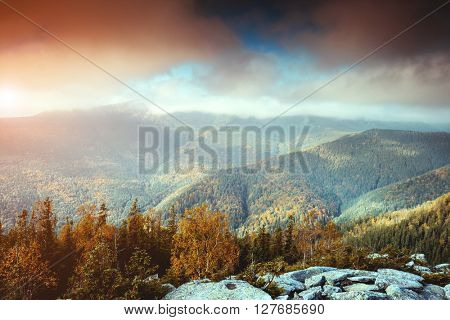 Great view of the foggy valley under overcast sky. Dramatic scene and picturesque picture. Location place Carpathian, Ukraine, Europe. Beauty world. Retro and vintage style. Instagram toning effect.