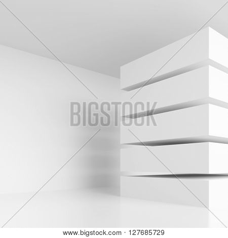3d Illustration of White Modern Interior Background. Abstract Architecture Design