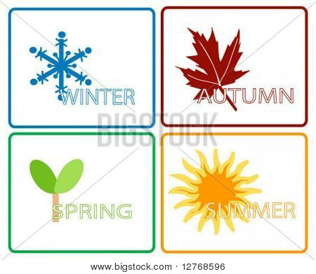 Four Seasons; Separate Items; Vector