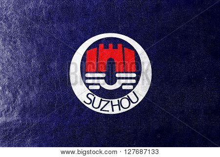 Flag Of Suzhou, China, Painted On Leather Texture
