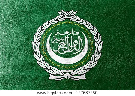 Flag Of The Arab League, Painted On Leather Texture