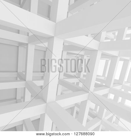 3d Rendering of White Building Construction. Abstract Architecture Background