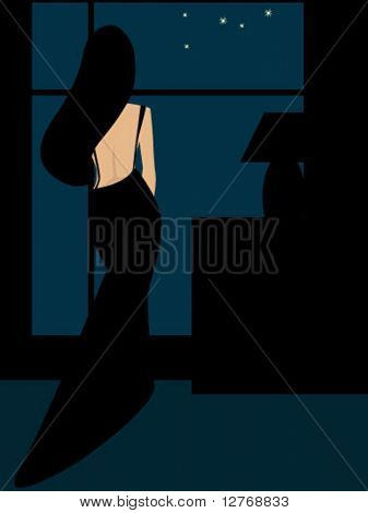 Woman in Black - Vector