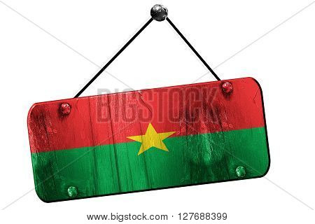 Burkina Faso flag, 3D rendering, grunge old sign on a rope