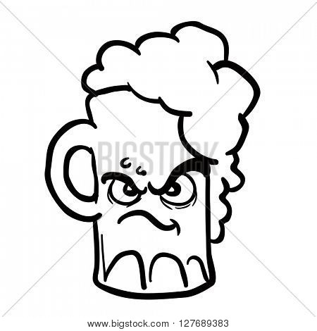 black and white angry beer cartoon illustration