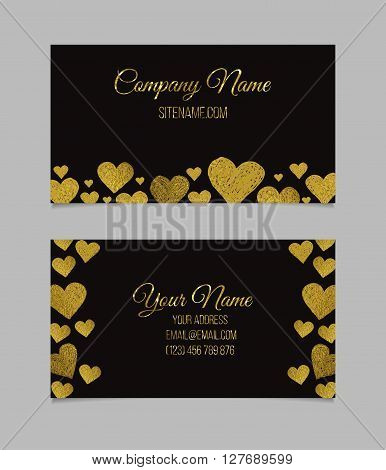 Business card template. Visiting card with golden foil heart shapes on black background. Double-sided vector business card.