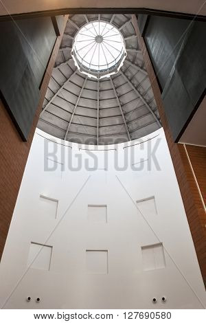 Badajoz Spain - April 1: MEIAC Museum building on April 1 2016 in Badajoz Spain. Situated on the area of the former prison of Badajoz redesigned by JA Galea. Skylight
