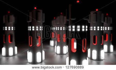 Fantasy hi tech plastic towers with luminescent red cores on a reflexive floor. Futuristic abstract technology background. Depth of field settings. 3d rendering.