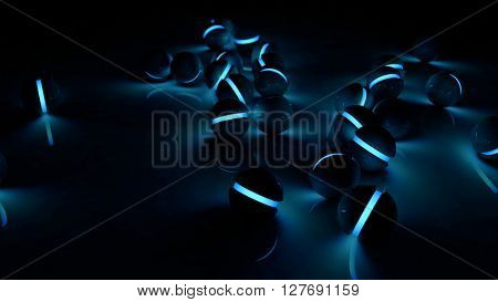 Realistic black glossy plastic spheres with blue luminescent cores background. Technology abstract structure composition. Depth of field settings. 3d rendering.
