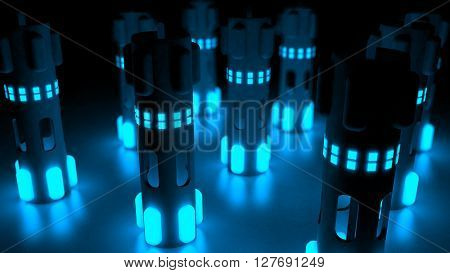 Fantasy hi tech plastic towers with luminescent blue elements on a reflexive floor. Futuristic abstract technology background. Depth of field settings. 3d rendering.