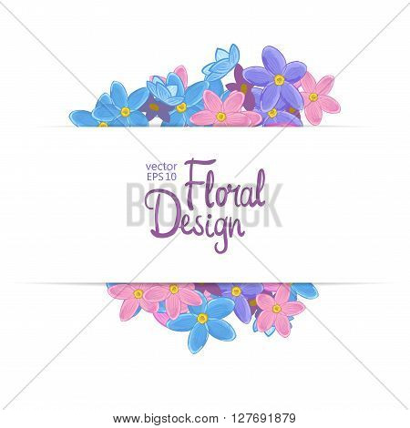 Floral vector frame. Forget-me-not flowers and place for your text.