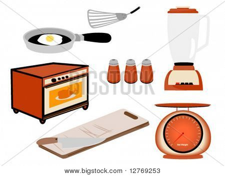 Kitchen Tools, Appliances - Vector