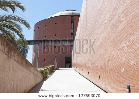 Badajoz Spain - April 1: MEIAC Museum building on April 1 2016 in Badajoz Spain. Situated on the area of the former prison of Badajoz redesigned by JA Galea. Entry ramp