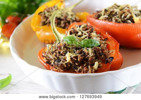 Stuffed Peppers With Meat, Rice And Mushrooms