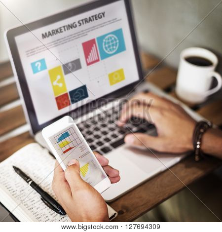 Marketing Strategy Connecting Digital Devices Concept