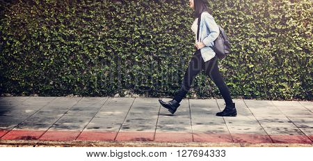 Woman Traveler Walking Street Freedom Concept