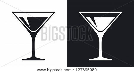 Martini glass icon vector. Two-tone version on black and white background