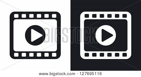 Media player icon vector. Two-tone version on black and white background