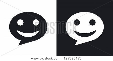 Message icon stock vector. Two-tone version on black and white background