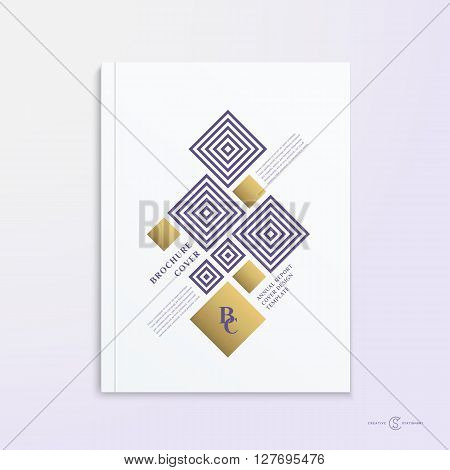 Abstract Vector Brochure, Booklet, Book or Report Cover Design Template. Soft Realistic Shadows. Magazine Layout, Flyer with Geometric Shapes and Golden Rhombuses or Rectangles Illustration. Isolated.