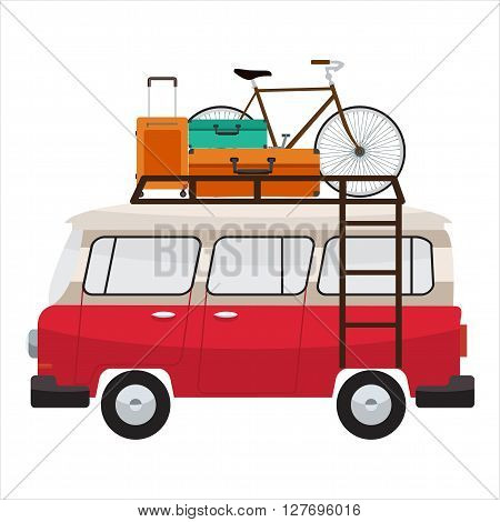 Camper van with roof bars. Summer vacation with family. Vector flat color design. Transparent glass. Tourist bags and bicycle