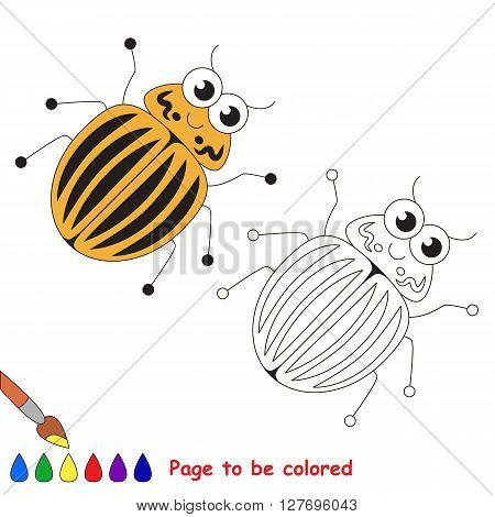Colorado potato beetle to be colored. Coloring book for children. Visual game.