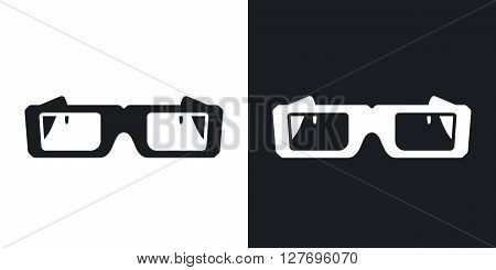 Vector 3D Glasses Icon. Two-tone version on black and white background