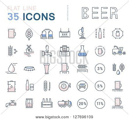 Set vector line icons in flat design beer bottle glass mug and pub logo with elements for mobile concepts and web apps. Collection modern infographic logo and pictogram.