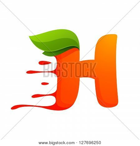H Letter With Orange Juice Drops And Leaves.