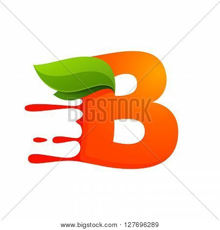 B Letter With Orange Juice Drops And Leaves.