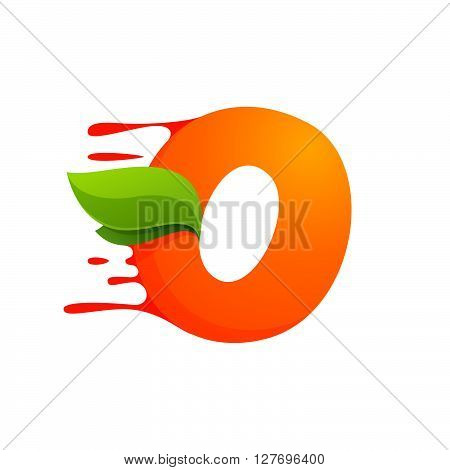 O Letter With Orange Juice Drops And Leaves.