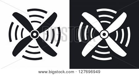 Airplane propeller icon vector. Two-tone version on black and white background